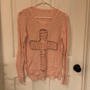 Pink cross sweater